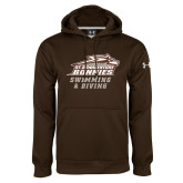 Under Armour Brown Performance Sweats Team Hoodie-Swimming & Diving