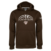 Under Armour Brown Performance Sweats Team Hoodie-St. Bonaventure Basketball Half Ball