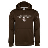 Under Armour Brown Performance Sweats Team Hoodie-St. Bonaventure Swimming Stacked