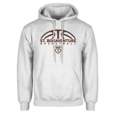 White Fleece Hoodie-St. Bonaventure Basketball Half Ball