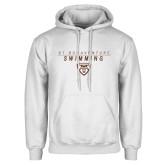 White Fleece Hoodie-St. Bonaventure Swimming Stacked