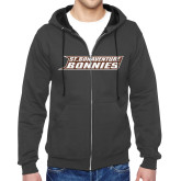 Charcoal Fleece Full Zip Hoodie-St. Bonaventure Bonnies