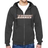 Charcoal Fleece Full Zip Hoodie-St. Bonaventure Bonnies