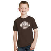Youth Brown T Shirt-Bonnies Baseball Arched w/ Ball
