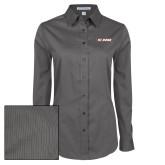 Ladies Grey Tonal Pattern Long Sleeve Shirt-St. Bona