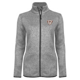 Grey Heather Ladies Fleece Jacket-Bonnies Shield