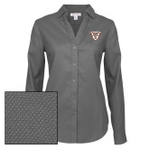 Ladies Red House Diamond Dobby Charcoal Long Sleeve Shirt-Bonnies Shield