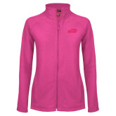 Ladies Fleece Full Zip Raspberry Jacket-Official Logo