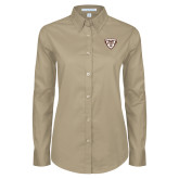 Ladies Khaki Twill Button Down Long Sleeve-Bonnies Shield
