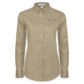 Ladies Khaki Twill Button Down Long Sleeve-Bonnies Shield