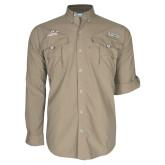 Columbia Bahama II Khaki Long Sleeve Shirt-Official Logo