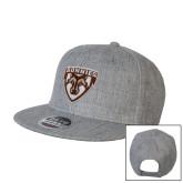 Heather Grey Wool Blend Flat Bill Snapback Hat-Bonnies Shield