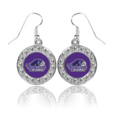 Crystal Studded Round Pendant Silver Dangle Earrings-Official Logo