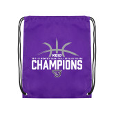 Purple Drawstring Backpack-Womens Basketball Regular Season Champions