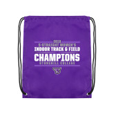 Purple Drawstring Backpack-Womens Indoor Track and Field Champions