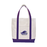Contender White/Purple Canvas Tote-Official Logo, Logo on white center panel