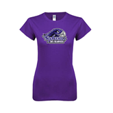 Next Level Ladies SoftStyle Junior Fitted Purple Tee-Official Logo