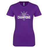 Next Level Ladies SoftStyle Junior Fitted Purple Tee-Womens Basketball Regular Season Champions