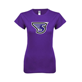 Next Level Ladies SoftStyle Junior Fitted Purple Tee-S