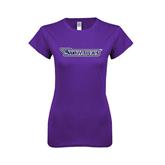 Next Level Ladies SoftStyle Junior Fitted Purple Tee-Skyhawks
