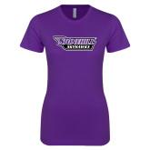 Next Level Ladies SoftStyle Junior Fitted Purple Tee-Stonehill Skyhawks