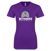 Next Level Ladies SoftStyle Junior Fitted Purple Tee-Baseball Hat Design