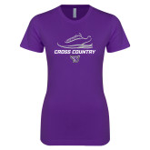 Next Level Ladies SoftStyle Junior Fitted Purple Tee-Cross Country Shoe Design