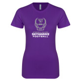 Next Level Ladies SoftStyle Junior Fitted Purple Tee-Football Helmet Design