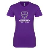 Next Level Ladies SoftStyle Junior Fitted Purple Tee-Football Helmet Design