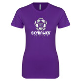 Next Level Ladies SoftStyle Junior Fitted Purple Tee-Distressed Soccer Ball Design