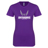 Next Level Ladies SoftStyle Junior Fitted Purple Tee-Track and Field Wings Design