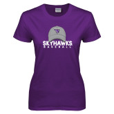 Ladies Purple T-Shirt-Baseball Hat Design