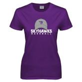 Ladies Purple T-Shirt-Baseball Hat Design