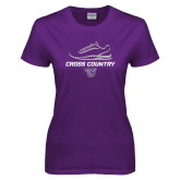 Ladies Purple T-Shirt-Cross Country Shoe Design