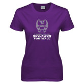 Ladies Purple T-Shirt-Football Helmet Design