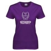 Ladies Purple T-Shirt-Football Helmet Design