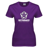 Ladies Purple T-Shirt-Distressed Soccer Ball Design