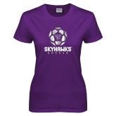 Ladies Purple T-Shirt-Distressed Soccer Ball Design
