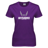 Ladies Purple T-Shirt-Track and Field Wings Design