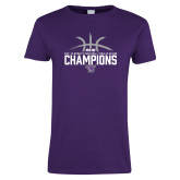 Ladies Purple T-Shirt-Womens Basketball Regular Season Champions