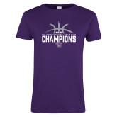Ladies Purple T Shirt-Womens Basketball Regular Season Champions