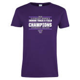 Ladies Purple T-Shirt-Womens Indoor Track and Field Champions