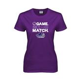 Ladies Purple T Shirt-Tennis Game Set Match