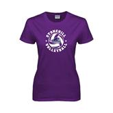 Ladies Purple T Shirt-Volleyball Stars Design