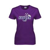 Ladies Purple T Shirt-Soccer Swoosh