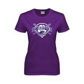 Ladies Purple T Shirt-Softball Design w/ Bats and Plate