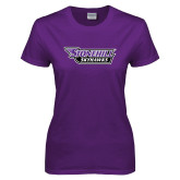 Ladies Purple T-Shirt-Stonehill Skyhawks