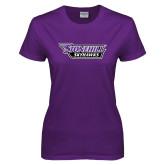 Ladies Purple T-Shirt-Stonehill Skyhawks