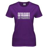Ladies Purple T-Shirt-Skyhawks Repeating