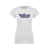 Next Level Ladies SoftStyle Junior Fitted White Tee-Stonehill Skyhawks